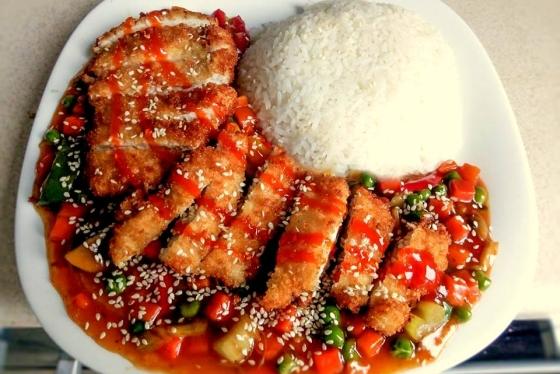 Kurczak z Warzywami w Panko